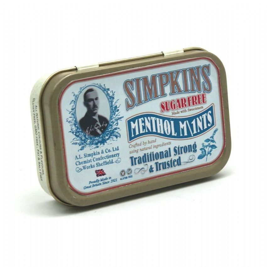 Sugar Free Menthol Mints - Simpkins Traditional Strong Travel Sweets Small Gift Tin 40g